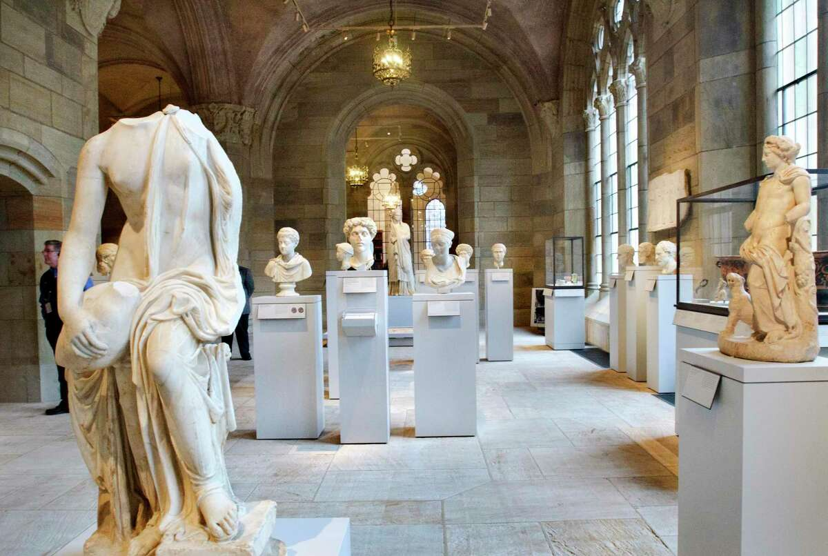 An old-section sculpture hall at the Yale University Art Gallery, closed since March 2020.