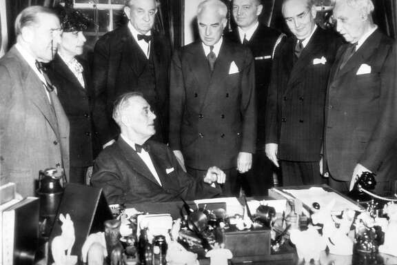 President Franklin Roosevelt talks to the men selected to be delegates at the UN conference that will be held in San Francisco beginning April 25, 1945