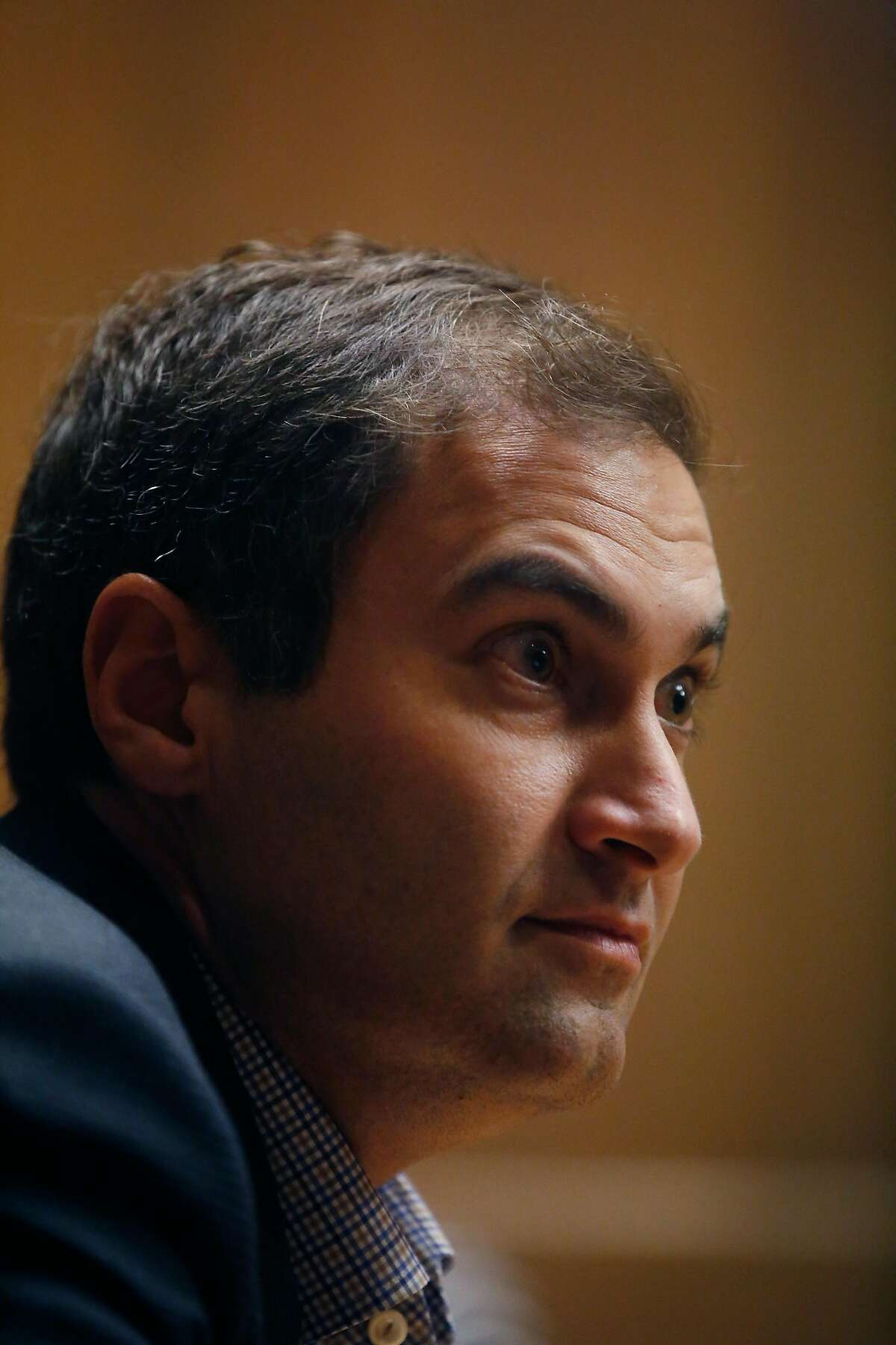 Oakland A's president Dave Kaval speaks to the Chronicle Editorial Board on Thursday, October 5, 2017 in San Francisco, Calif.