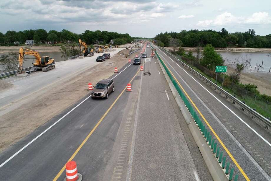 The Michigan Department of Transportation announced eastbound US-10 at Sanford was open again following a flood event two weeks ago. (Facebook Photo) Photo: Facebook Photo