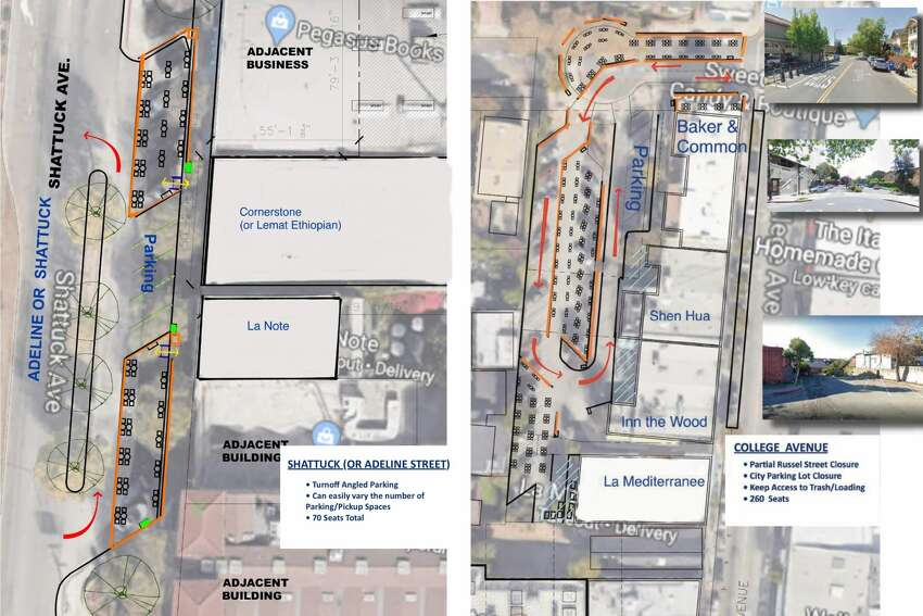 Meanwhile, a rendering of a stretch of College Avenue that includes restaurants La Mediterranee and Baker & Common shows a city parking lot transformed into 280 dining spots.