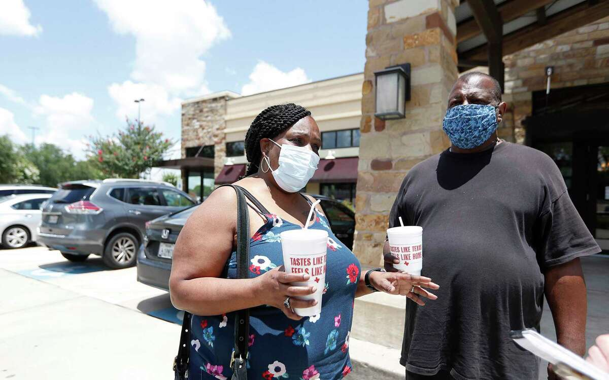 Marion Adams, of Missouri City, talks about what she loves most about the Luby's at 9797 S. Post Oak, Thursday, June 4, 2020, in Houston.