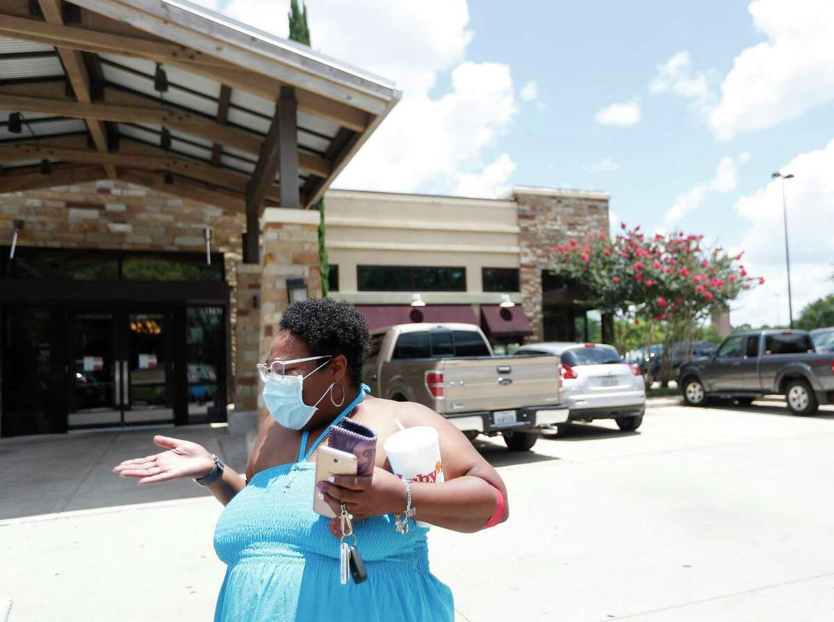 Ashley Taylor after dining at Luby's at 9797 S. Post Oak, Thursday, June 4, 2020, in Houston.