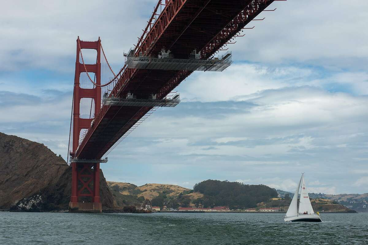 A sailboat seen in San Francisco Bay during the coronavirus outbreak on May 30, 2020 in Sausalito, Calif.