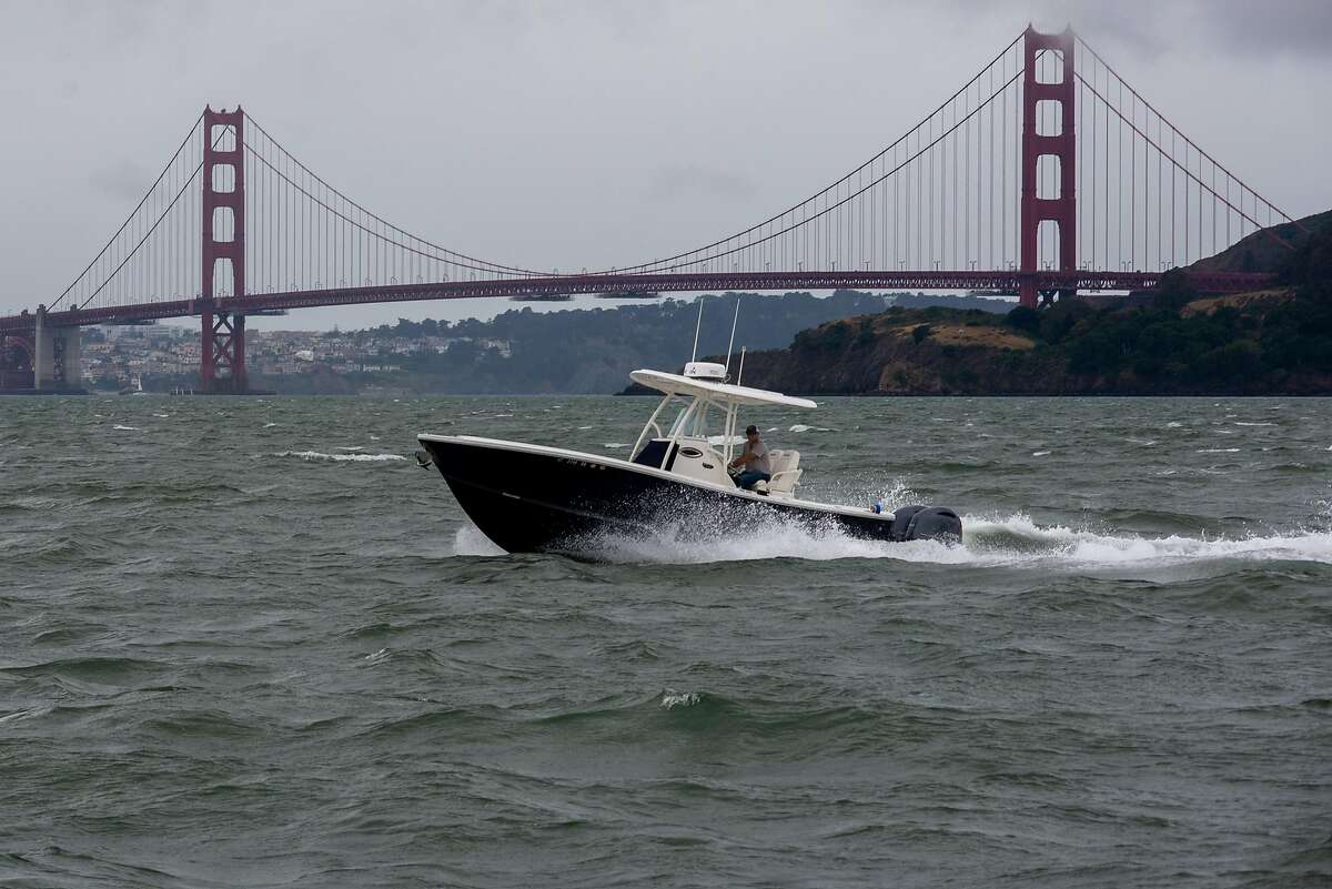A boat seen in Richardson Bay during the coronavirus outbreak on May 30, 2020 in Sausalito, Calif.