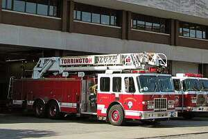 File photo of fire engines at a station in Torrington, Conn.