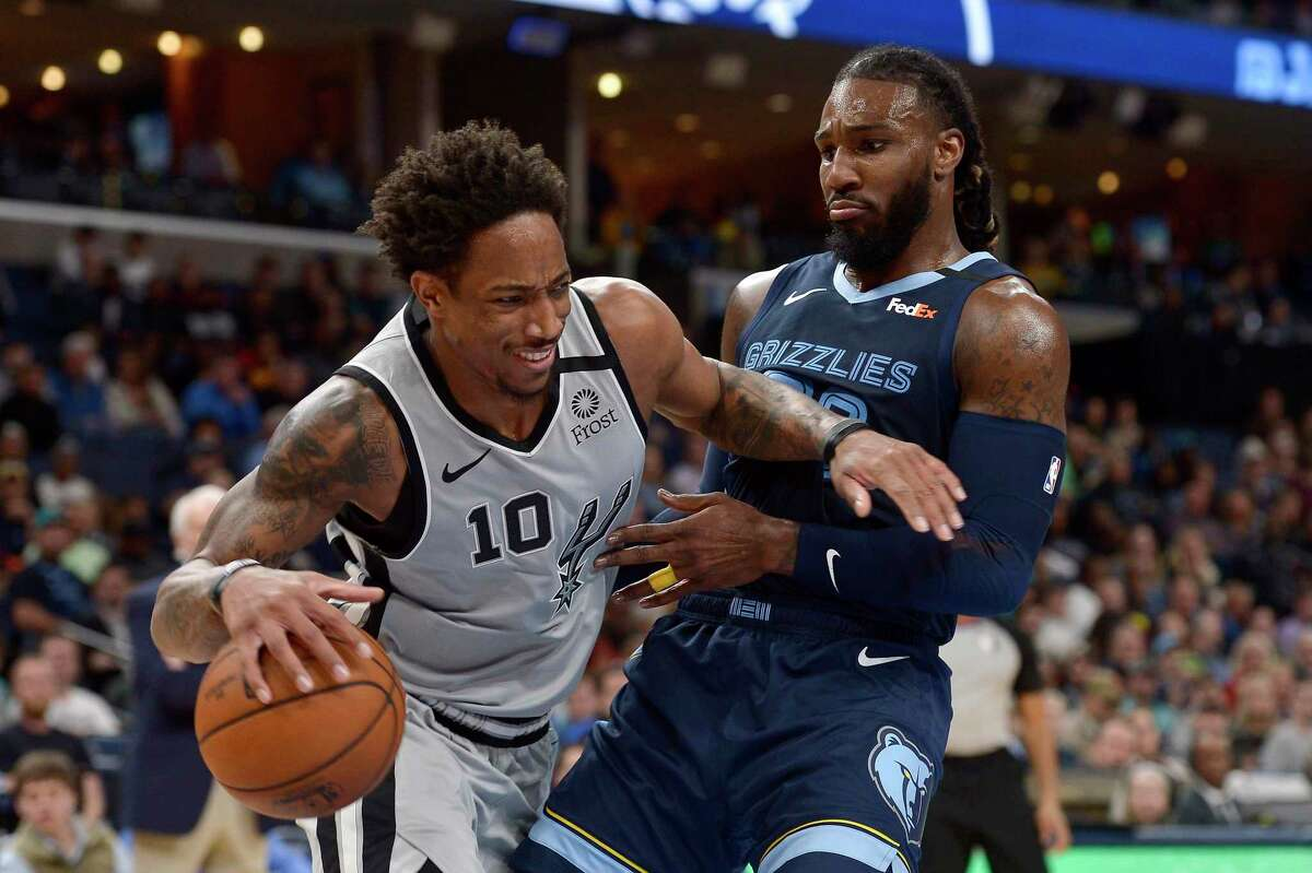 When the NBA season resumes with eight remaining games per team, DeMar DeRozan's Spurs will be one of five clubs trying to get past the Grizzlies and Jae Crowder, right, for the Western Conference's eighth playoff seed.