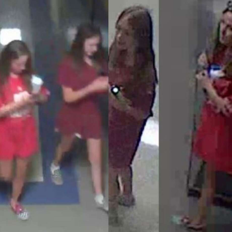 Two unidentified girls are seen in surveillance image stills walking through Montgomery County Junior High School during an alleged vandalism incident. Photo: Courtesy Of The Montgomery County Sheriff's Office