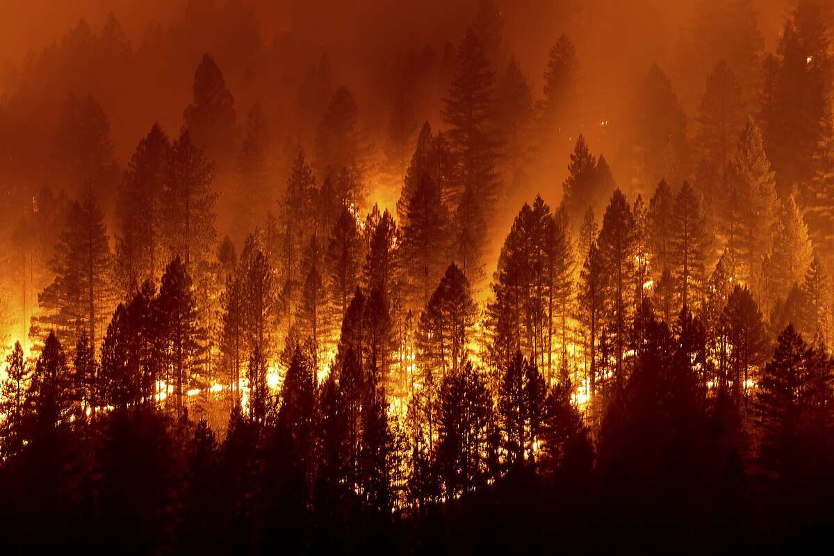 Photo of fire burning at night