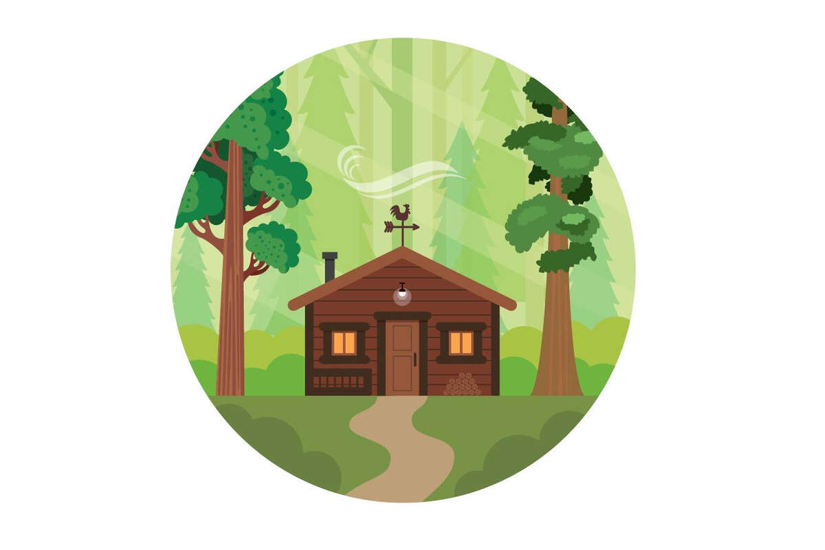 graphic of cabin-like house with a weather vane in the woods