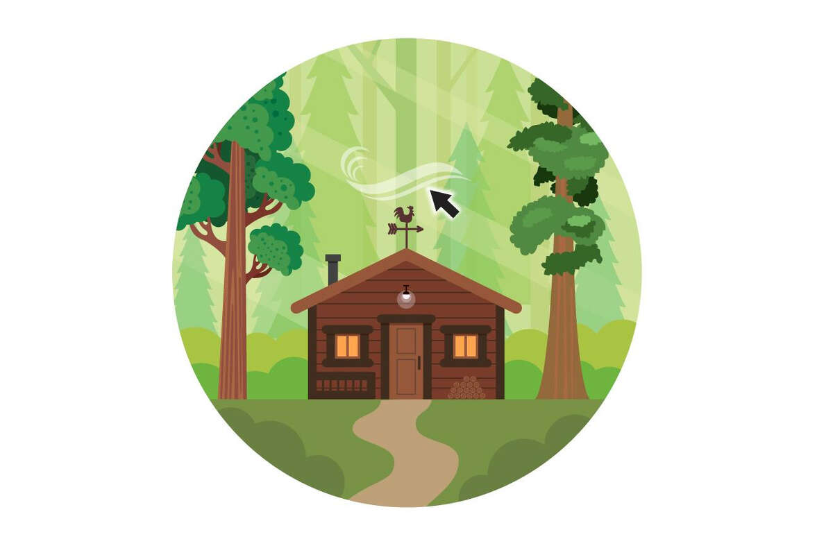 graphic of the cabin-like house in the woods with weather vane highlighted