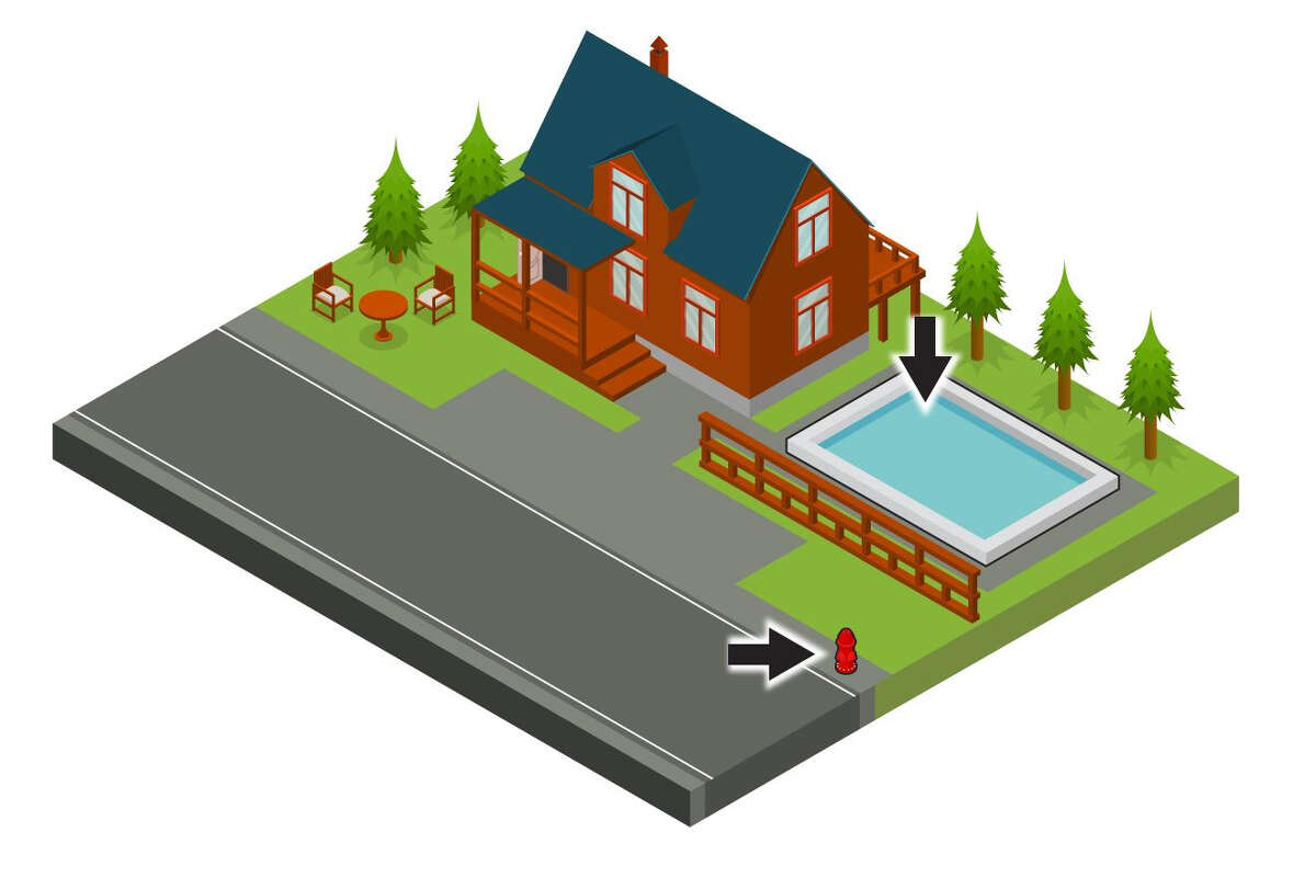 graphic of the house with the hydrant and swimming pool highlighted