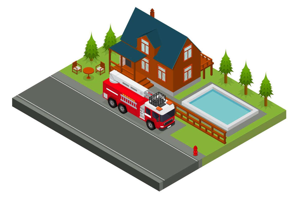 graphic of the house with a firetruck on the dirt path