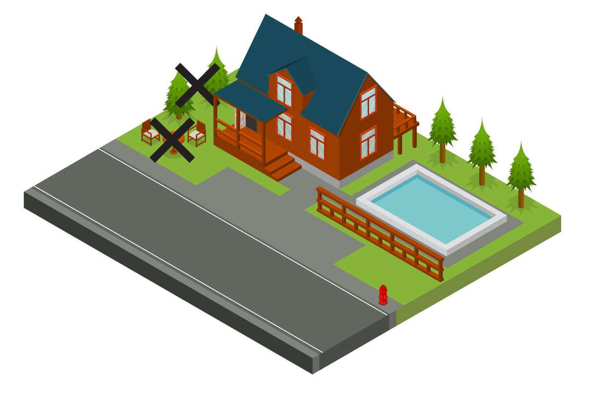 graphic of the house with Xs through lawn furniture and brush