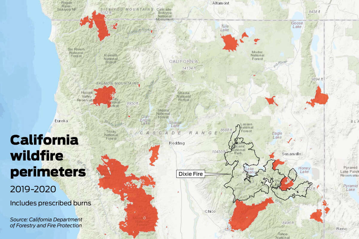 Map showing California fires for 2019 and 2020