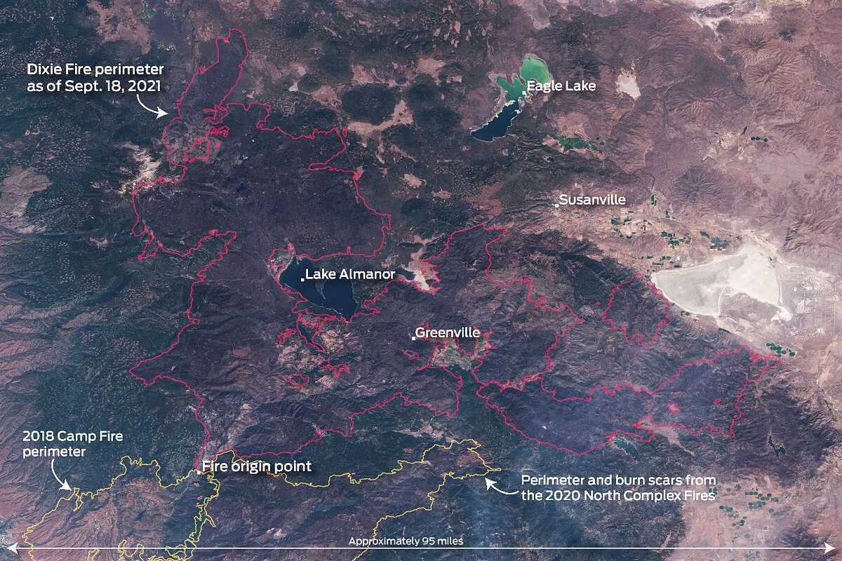 Satellite photo of the Dixie Fire perimeter