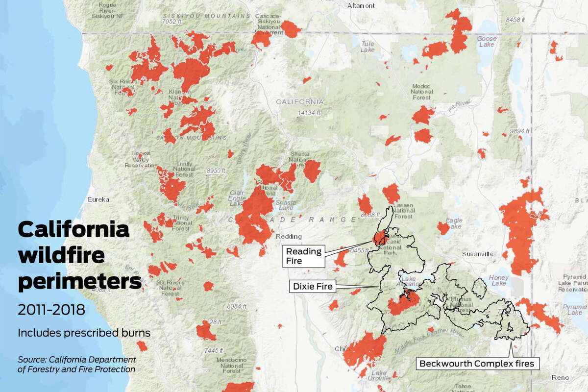 Map showing California fires going back to 2011