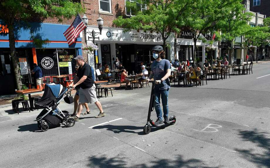 Area restaurants begin to transform Bedford Street into outdoor Streateries on May 30, 2020 in Stamford, Connecticut. Photo: Matthew Brown / Hearst Connecticut Media / Stamford Advocate
