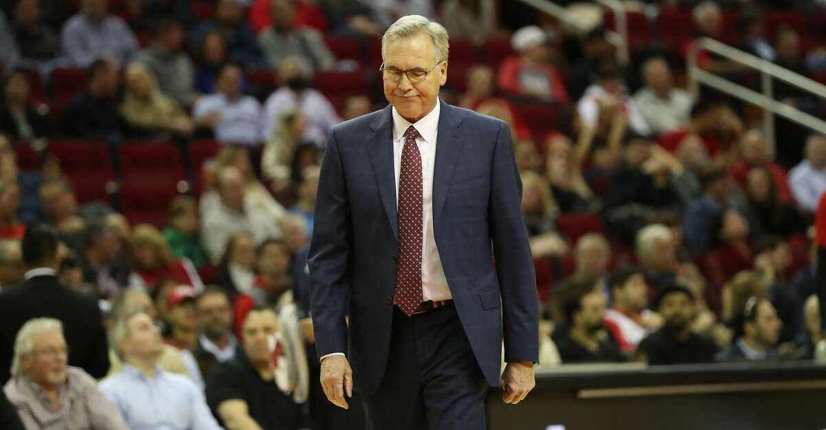 Houston Rockets head coach Mike D'Antoni shows some emotion during the first half of an NBA basketball game at Toyota Center on Tuesday, Feb. 11, 2020, in Houston.