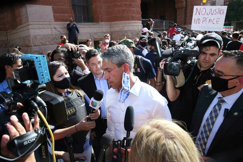 San Antonio Mayor Ron Nirenberg talks with media after addressing protesters gathered in front of the Bexar County Courthouse, Thursday, June 4, 2020. It is the sixth of protest in the police killing of George Floyd on Memorial Day in Minneapolis.