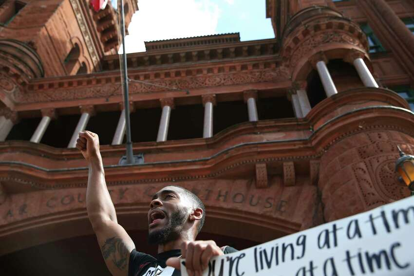 Trevor Taylor, 25, joins protesters gathered in front of the Bexar County Courthouse, Thursday, June 4, 2020. It is the sixth of protest in the police killing of George Floyd on Memorial Day in Minneapolis.