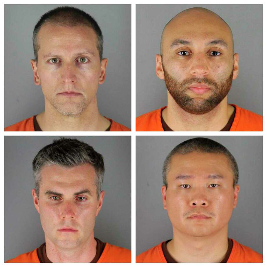 This combination of photos provided by the Hennepin County Sheriff's Office in Minnesota on Wednesday, June 3, 2020, shows, top row from left, Derek Chauvin, and J. Alexander Kueng, bottom row from left, Thomas Lane and Tou Thao. Chauvin is charged with second-degree murder of George Floyd, a black man who died after being restrained by him and the other Minneapolis police officers on May 25. Kueng, Lane and Thao have been charged with aiding and abetting Chauvin. Photo: Associated Press / Hennepin County Sheriff