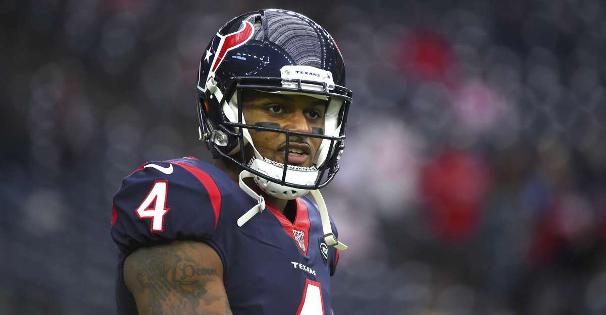 Houston Texans' Deshaun Watson warms up before an NFL football game against the Tennessee Titans Sunday, Dec. 29, 2019, in Houston. (AP Photo/Eric Christian Smith)
