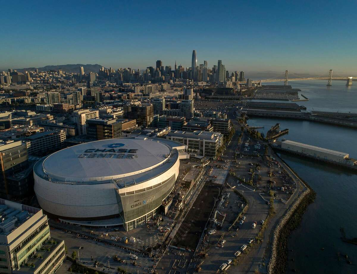 An aerial view of the arena as workers put on the finishing touches of the new Chase Center, in San Francisco Calif., on Monday, July 15, 2019.
