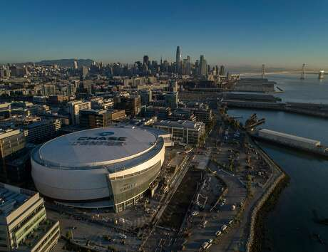 An aerial view of the arena as workers put on the finishing touches of the new Chase Center, in San Francisco Calif., on Monday, July 15, 2019.  Work crews are in the final stages of preparing the new home of the Golden State Warriors which will open with concerts at the end of September.