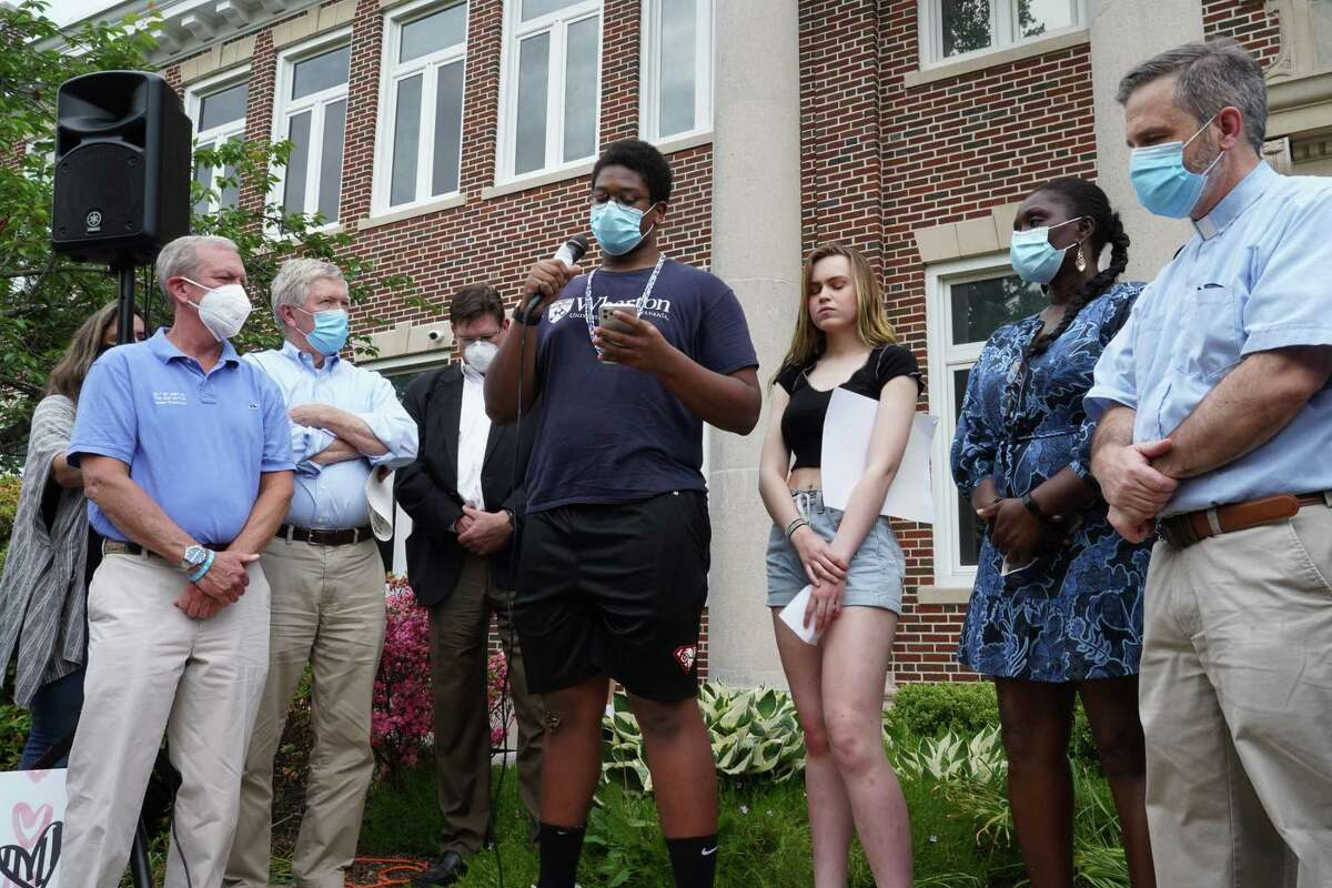 New Canaan High School Class of 2020 alumni Ethan Niang speaks at a peaceful march June 4, 2020, in New Canaan to protest against police violence against Black people, in particular George Floyd's death, May 25, 2020.