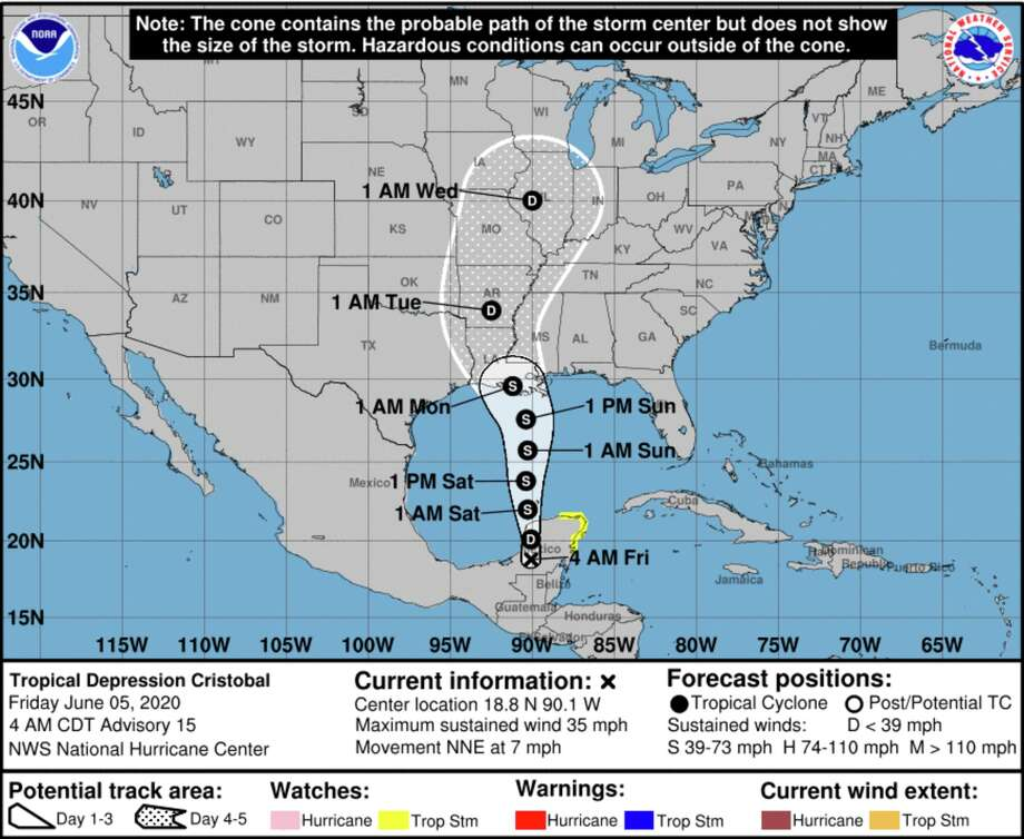 Tropical Storm Cristobal is predicted to make landfall in Louisiana in early June 2020. Photo: National Hurricane Center