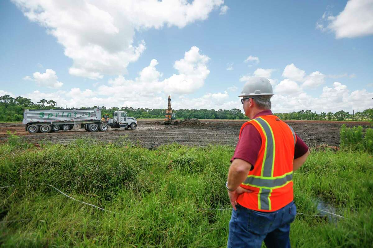 Harris County Flood Control Manager A. Gene Rushing, Jr., looks over the Harris County Flood Control Southbelt, Phase 3 and Dagg Road Stormwater Detention Basins project Thursday, June 4, 2020, in Houston.