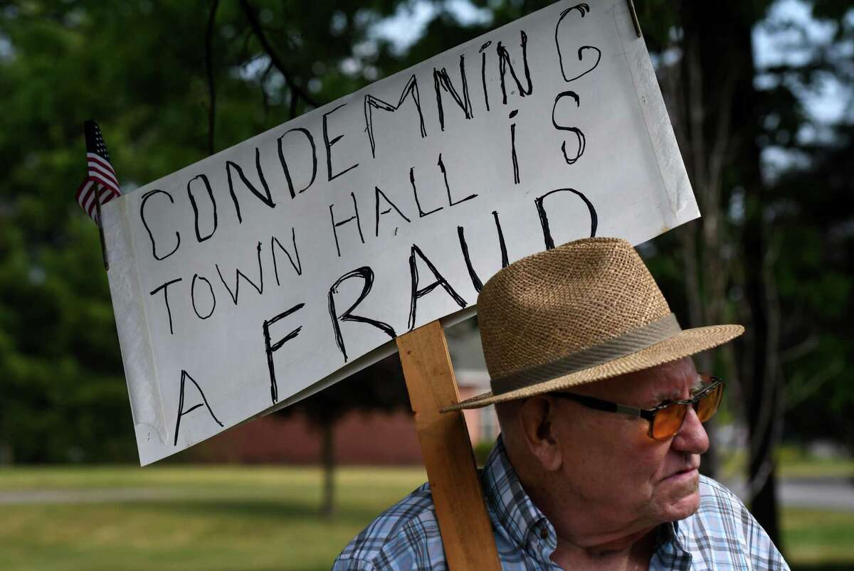 Jim Staulters protests outside Milton Town Hall on Friday, June 5, 2020, in Milton, N.Y. Staulters is skeptical about the recent condemning of the town building by a town inspector. (Will Waldron/Times Union)