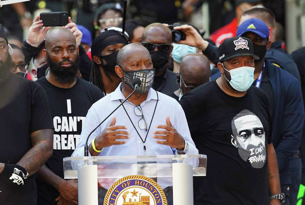 Houston Mayor Sylvester Turner addresses protesters with George Floyd's family at City Hall in downtown Houston on Tuesday, June 2, 2020.
