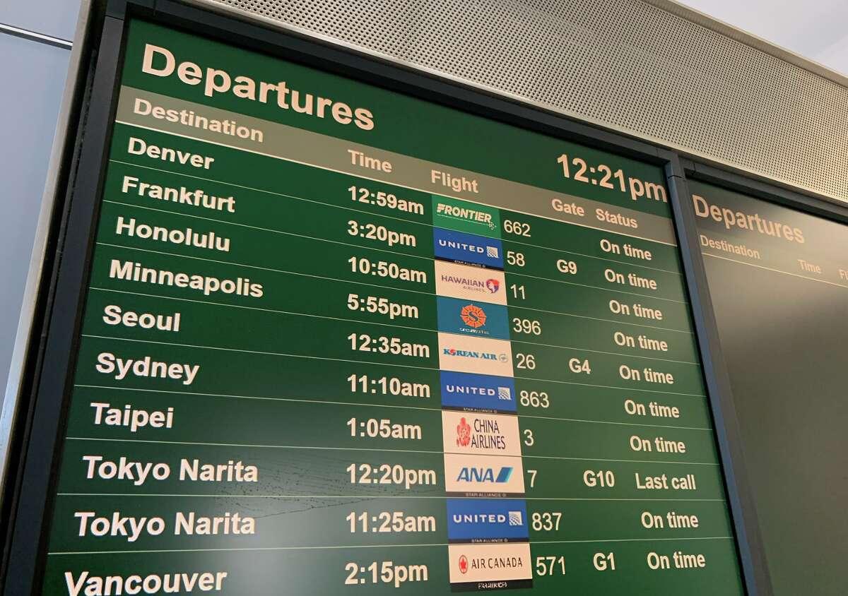Flight board at SFO's international terminal on Thursday, June 4, 2020