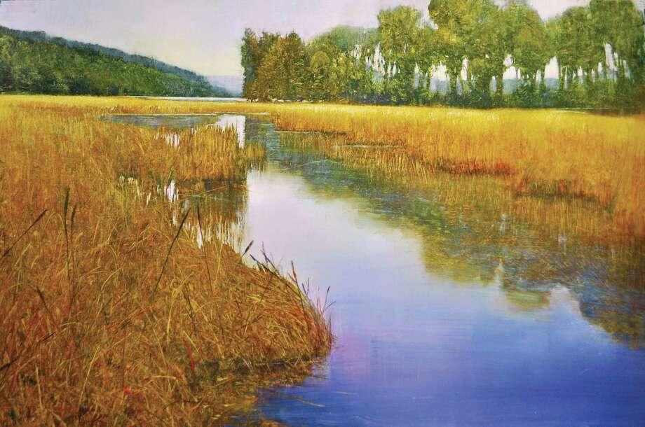 David Dunlop. River Horizon, Oil on brushed silver aluminum, 24x36 PR.jpg Photo: Contributed Photo