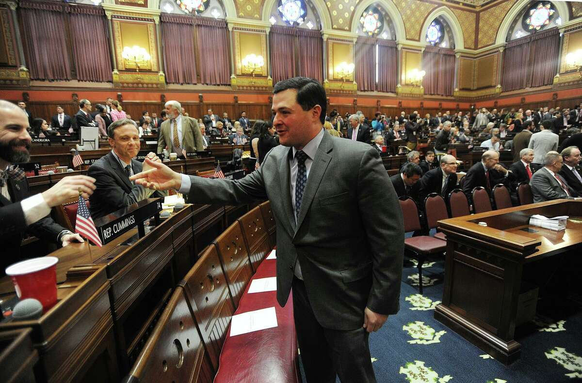 Former Trumbull First Selectman Timothy Herbst attends the annual State of the State address during the opening session of the state legislature at the Capitol in Hartford, Conn. on Wednesday, February 7, 2018.