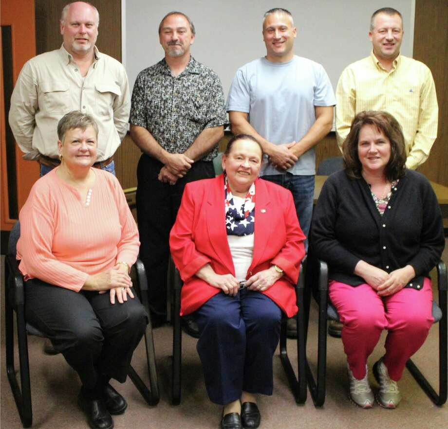 Patricia Des Jardins, bottom center, with members of the Caseville City Council back in 2015. Des Jardins has been the mayor of Caseville since it obtained city status in 2010. (Courtesy Photo)