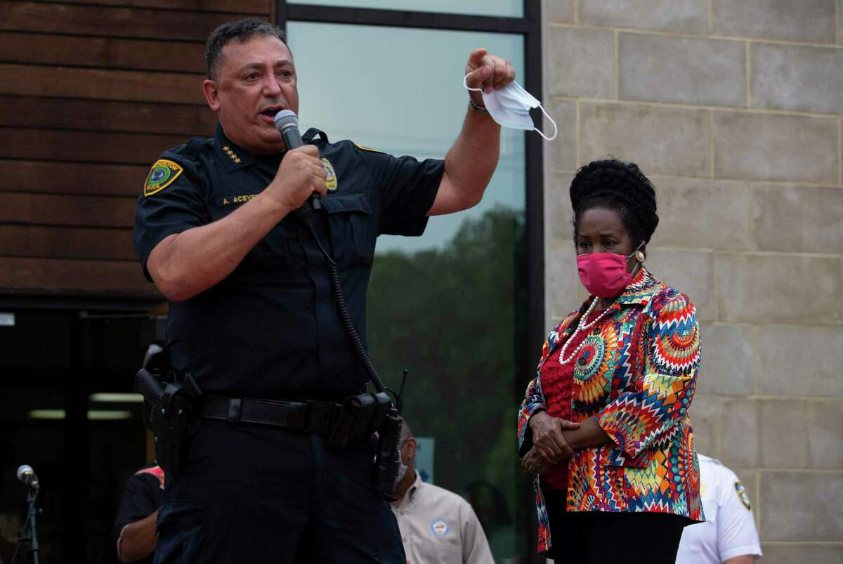 Houston Police Chief Art Acevedo, shown here May 31, 2020, in a Thursday night Twitter exchange with Harris County Commissioner Adrian Garcia challenged the former sheriff to discuss his record on a controversial immigration program.