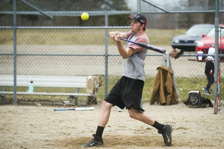 Midland's d'Artagnan Booth takes some swings with friends at Redcoats Complex on March 26, 2020. Photo: Daily News File Photo