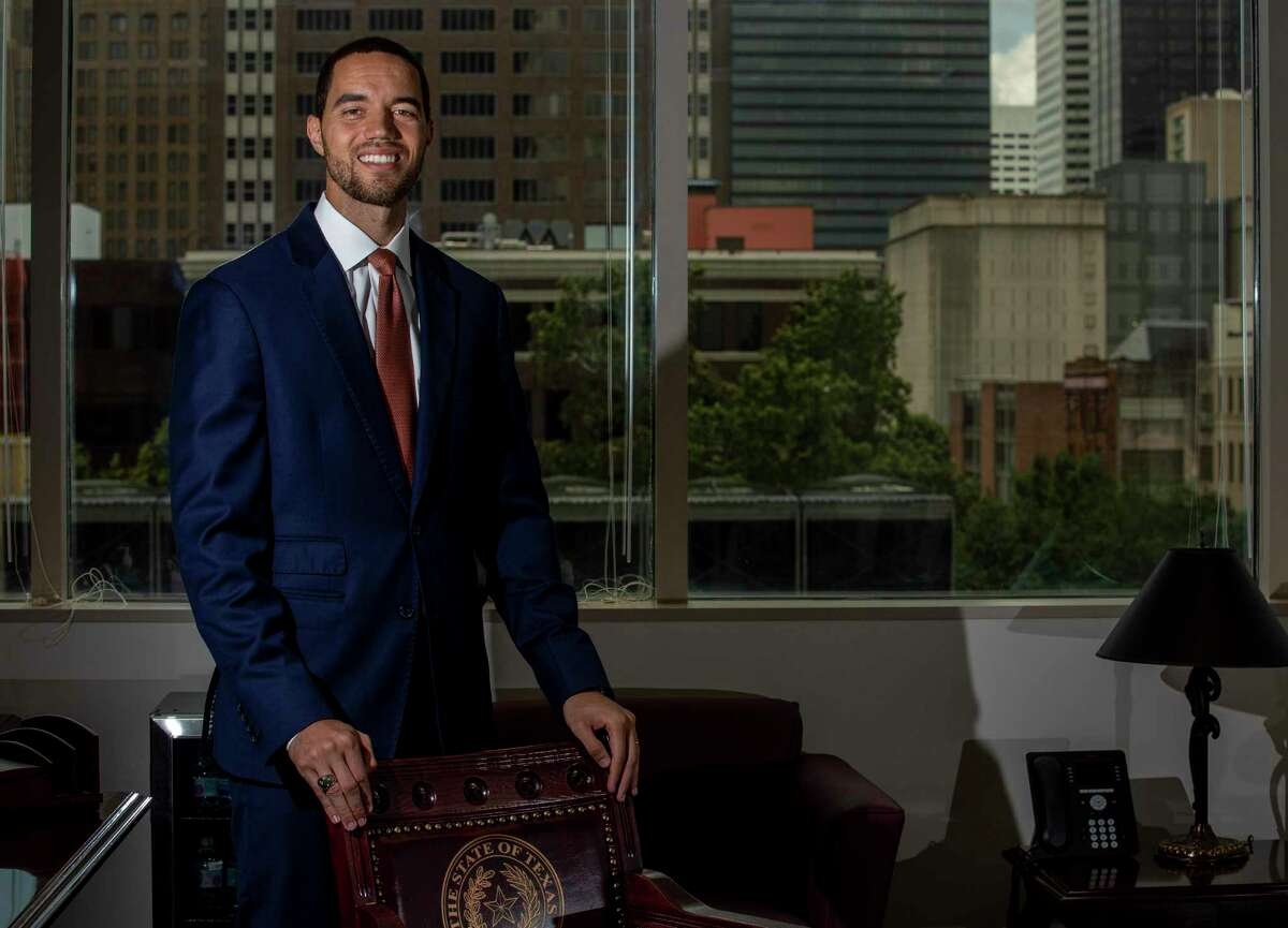 Interim Harris County clerk Chris Hollins poses for a photograph in his new office at the Harris County Civill Courthouse building Wednesday, May 27, 2020, in Houston.