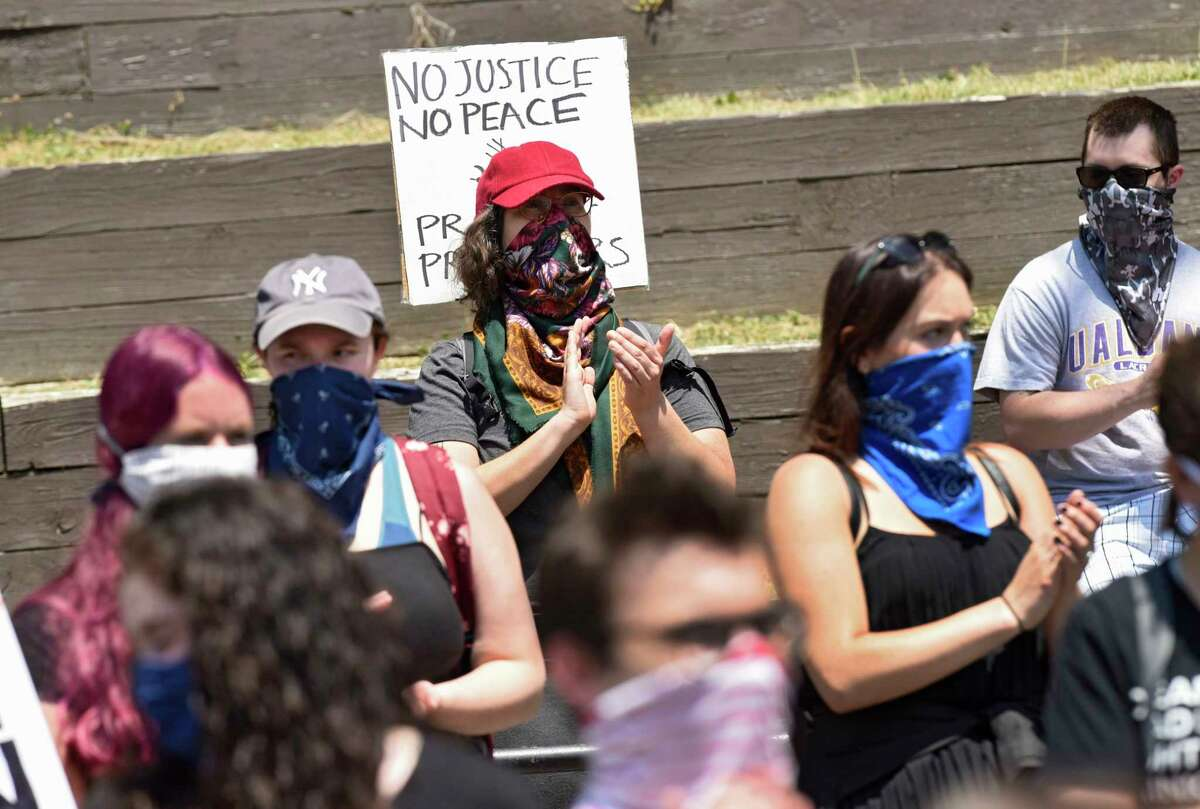 Demonstrators gather in Washington Park for a daily rally against police brutality on Friday, June 5, 2020 in Albany, N.Y. (Lori Van Buren/Times Union)