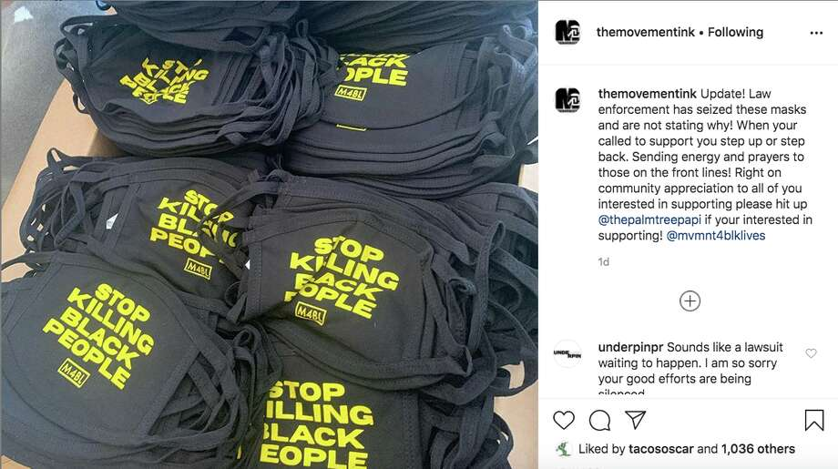 An Oakland printing company says thousands of cloth masks they produced for protestors were seized by law enforcement. Photo: Instagram / @themovementink