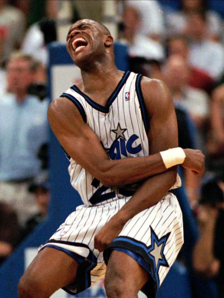 Magic guard Nick Anderson missed four free throws in the last 10.5 seconds of regulation, allowing the Rockets to send the game into overtime and go on to win 120-118 in Game 1 of the NBA Finals in 1995.