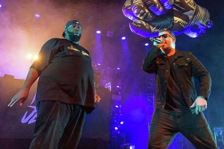 Michael Render (Killer Mike) and Jaime Meline (EL-P) of Run The Jewels at the Orpheum Theater on February 15, 2017 in Madison, Wisconsin. (Daniel DeSlover/Zuma Press/TNS)
