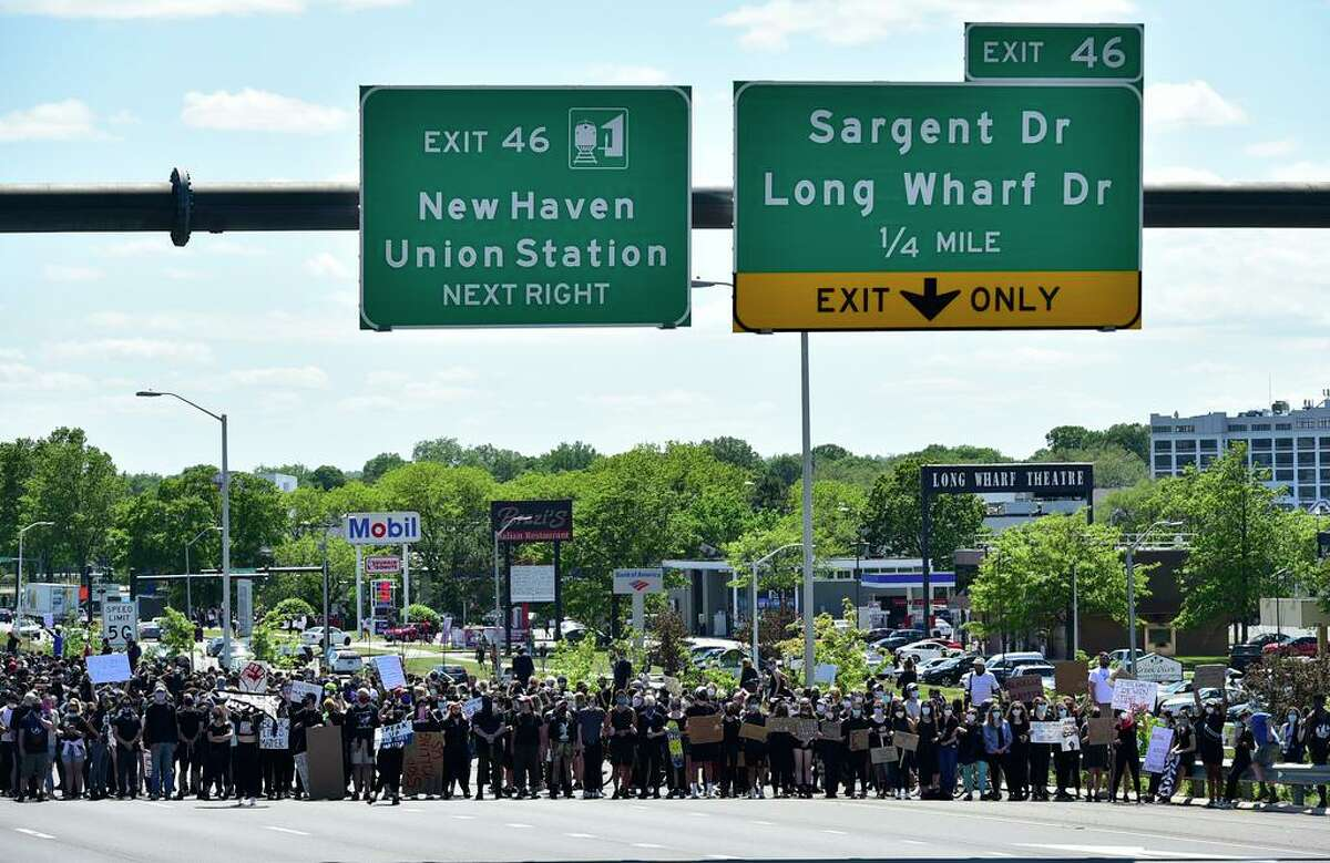 Approximately 1,000 Black Lives Matter protesters and supporters block Interstate 95 in New Haven May 31.