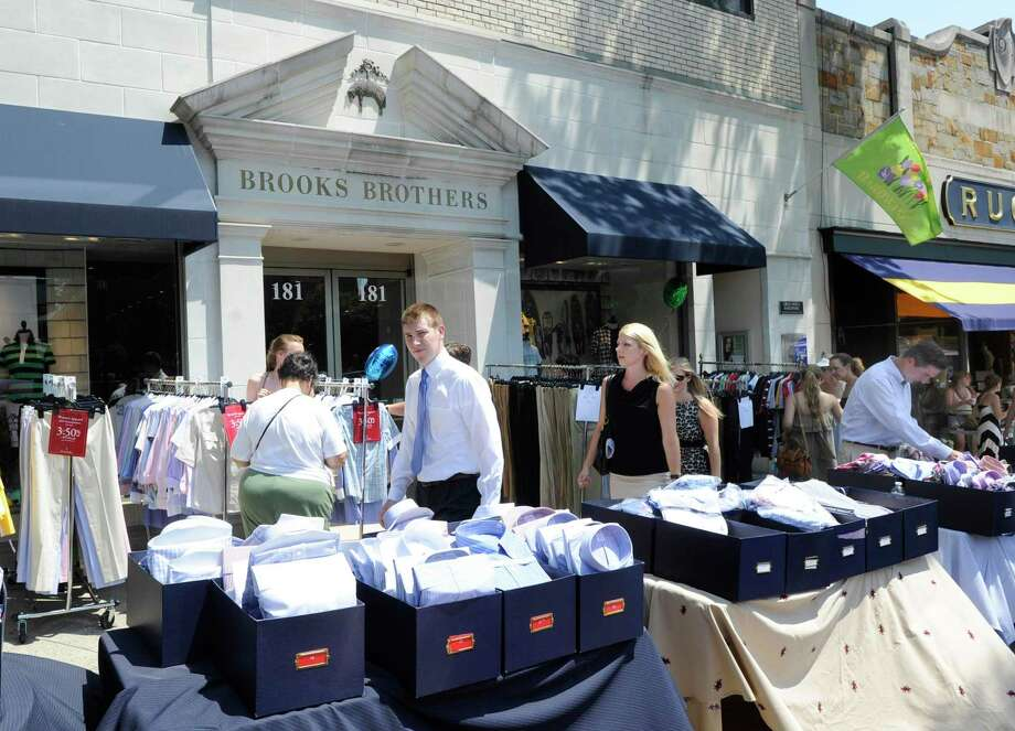 A Brooks Brothers store on Greenwich Avenue in Greenwich, Conn., which the company is keeping open while closing permanently a Darien store and a women's boutique in Westport during the coronavirus pandemic. Photo: Bob Luckey / ST / Greenwich Time