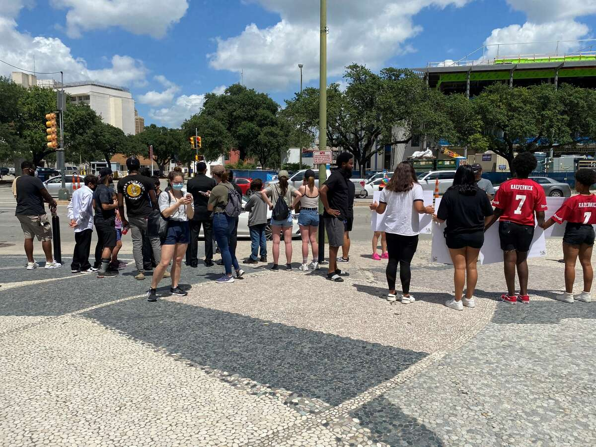 Protesters gather at San Antonio Public Safety Headquarters Friday, June 5, 2020.
