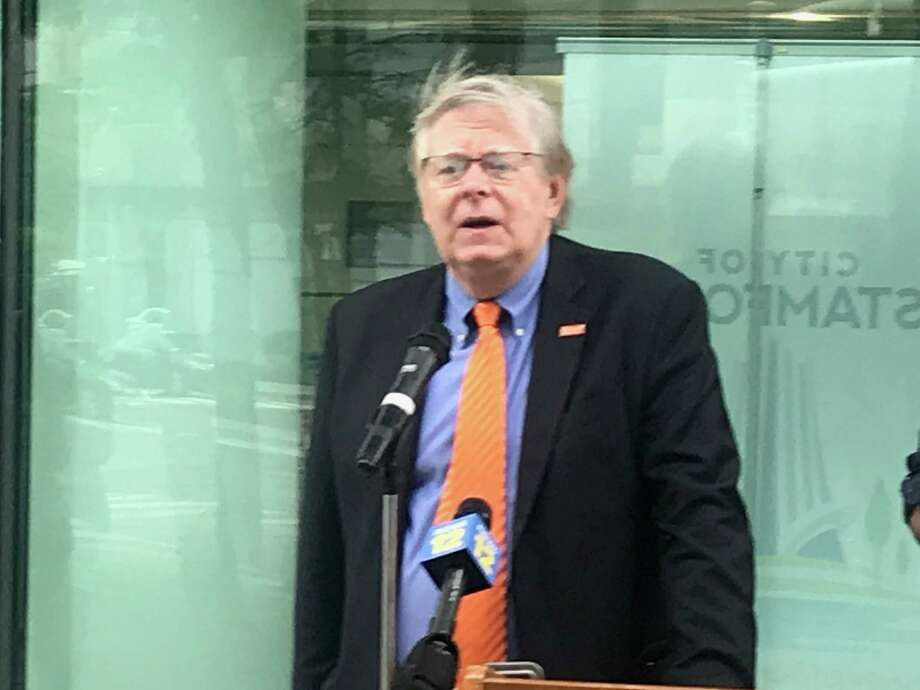 Stamford Mayor David Martin speaks at a rally outside of Stamford Government Center on Friday, June 5. Photo: John Nickerson / Staff