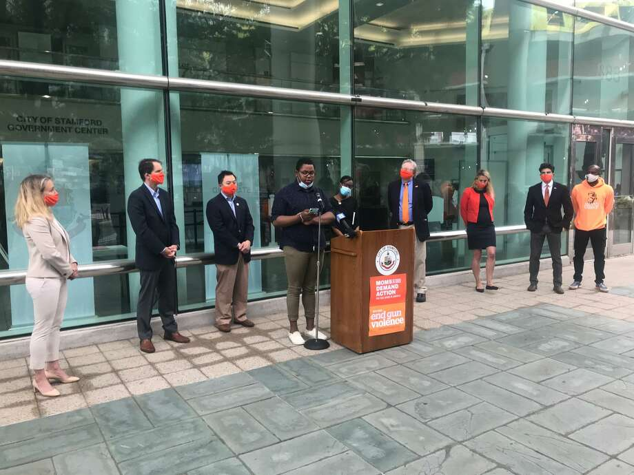Stamford Academy senior Daniel Robinson speaks at a rally to stop gun violence in front of Stamford Government Center on Friday, June 5. Photo: John Nickerson / Staff